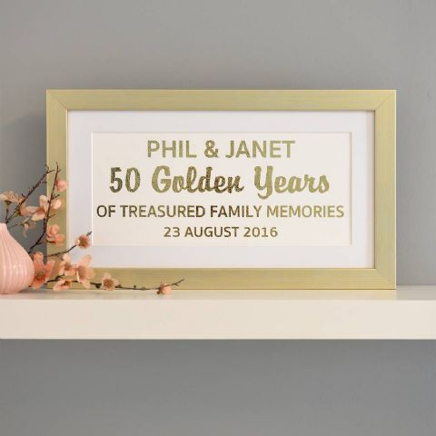 Personalised Golden Anniversary Metallic Framed Art